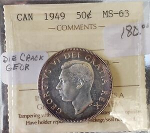 CAN COINS ICCS CERT 1949 50 CENT MS 63