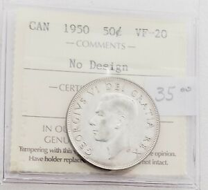 CAN COINS ICCS CERT 1950 50 CENT VF 20 NO DESIGN