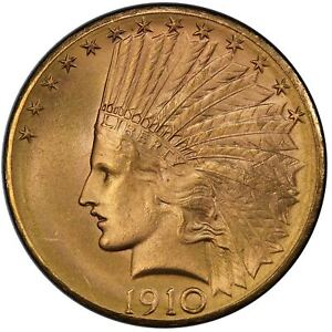 1910 D $10 INDIAN HEAD PCGS MS66  CAC