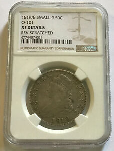 1819/8 SMALL 9 CAPPED BUST HALF DOLLAR NGC XF DETAILS