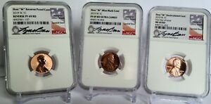 SET OF 3: 2019 W LINCOLN CENTS NGC PF69 & MS69 SIGNED BY LYNDALL BASS