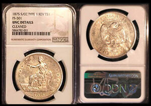 Click now to see the BUY IT NOW Price! 1875 S/CC  TYPE 1 REV T $1 FS 501 NGC UNC DETAILS CLEANED