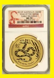 Click now to see the BUY IT NOW Price! 2013 AUSTRALIA CHINESE LUNAR YEAR OF THE SNAKE NGC MS 70 ER 2 OZ 9999 GOLD POP10