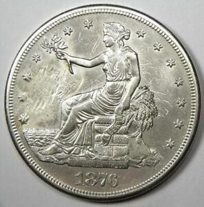 1876 CC TRADE SILVER DOLLAR T$1   AU DETAILS  SMOOTHED     CARSON CITY COIN