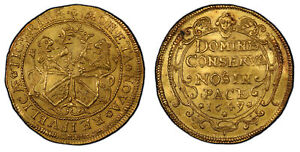 Click now to see the BUY IT NOW Price! SWISS CANTONS ZURICH 1649/7 AV 6 DUCATS PCGS MS62  KM 74; FR 472 FROM TALER DIES