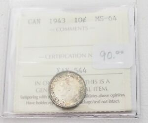 CAN COINS ICCS CERT  1943 10 CENT MS 64