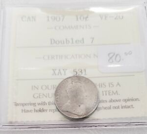 CAN COINS ICCS CERT 1907 10 CENT VF 20  DOUBLE 7