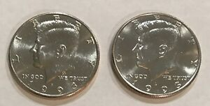 1993 P & D KENNEDY HALF DOLLARS 2 COIN LOT UNCIRCULATED FROM MINT CELLO