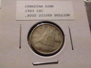 1943 10C SILVER CANADIAN DIME 6128