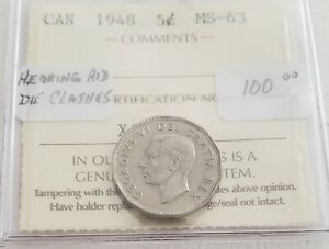 CAN COINS ICCS CERT 1948 5 CENT MS 63