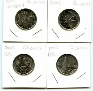 2005 CANADIAN QUARTERS   CIRCULATED   FOUR COINS TOTAL