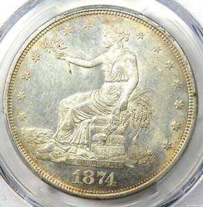 1874 CC TRADE SILVER DOLLAR T$1. PCGS UNCIRCULATED DETAIL  MS UNC    NICE LUSTER