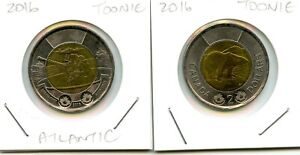 2016 CANADIAN CIRCULATED TOONIE   2 COINS   EXACT COINS SHOWN