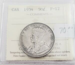 CAN COINS ICCS CERT 1934 50 CENT F 12