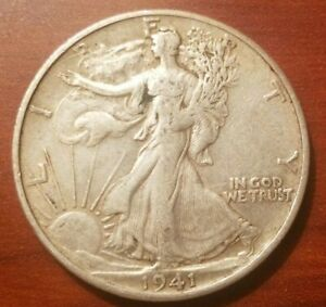 Click now to see the BUY IT NOW Price! 1941 S WALKING LIBERTY HALF DOLLAR SILVER COIN 50 CENTS EXTRA FINE EF WWII RELIC