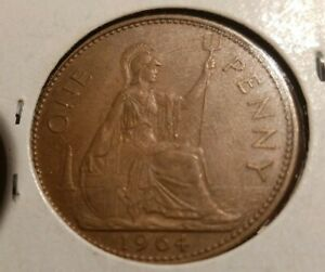 VINTAGE 1964 GREAT BRITAIN ONE PENNY COIN JUNK DRAWER FIND.