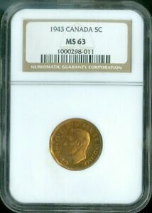 TOMBAC CANADA 1943 FIVE CENT NGC MS 63 QUALITY QUALITY