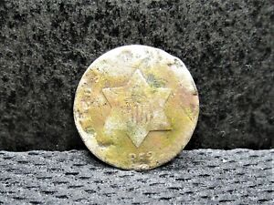 1852 SILVER THREE CENT PIECE   FRO DETAILS   HOLE FILLER