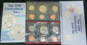1998 U.S. UNCIRCULATED MINT SET P AND D MARKS. 10 COINS AND 2 TOKENS