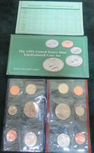 1993 U.S. UNCIRCULATED MINT SET P AND D MARKS. 10 COINS AND 2 TOKENS