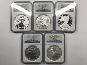 2011 SILVER EAGLE 25TH ANNIVERSARY 5 COIN SET   NGC MS70 PF70   REVERSE PROOF