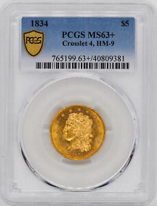 Click now to see the BUY IT NOW Price! 1834 CLASSIC HEAD $5 PCGS MS 63