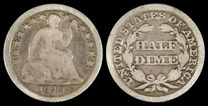 1849/6 SEATED LIBERTY HALF DIME US TYPE ERROR OVERDATE FS 301 VARIETY H10C COIN