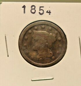 1854 US LARGE CENT G  CLEANED