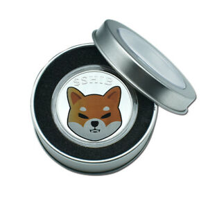 SHIB SOUVENIR DOGECOIN GOLD PLATED SILVER COMMEMORATIVE COIN WITH METAL BOX
