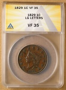 1829 CORONET HEAD LARGE CENT 'LARGE LETTERS' ANACS VF35
