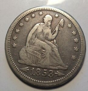 SHARP FINE 1853 ARROWS & RAYS SEATED LIBERTY SILVER 25C UNCERTIFIED QUARTER