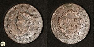 1822 CORONET HEAD LARGE CENT CORROSION BETTER DATE NICER DETAILS SEE PICS  :
