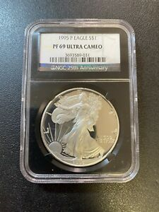 1995 P PROOF SILVER EAGLE NGC PR 69 DCAM   PROOF SILVER ASE   CERTIFIED SLAB  $1