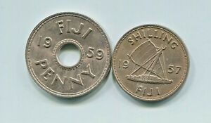 FIJI  2  BEAUTIFUL HISTORICAL QE II COINS:1957 OUTRIGGER SHILLING & 1959 PENNY