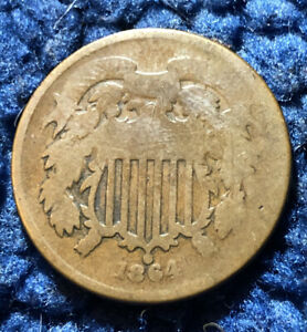 1864 2C TWO CENT PIECE   SMALL MOTTO   KEY DATE VARIETY   GOOD CONDITION