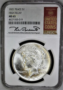 1921 NGC MS 65 PEACE DOLLAR   FROSTY BLAST WHITE  HIGH RELIEF  EYE APPEAL
