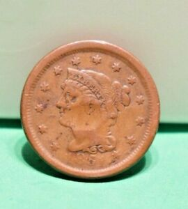 1851 US LARGE CENT F   DENTED FACE