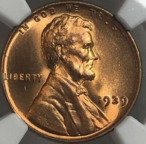 1939 NGC MS67 RD LINCOLN WHEAT CENT 1C   SATINY LUSTROUS CHERRY RED GEM