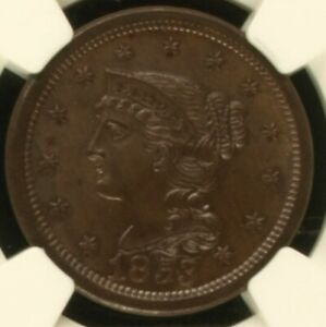 1853 BRAIDED HAIR LARGE CENT NGC MS 65 BN NICE