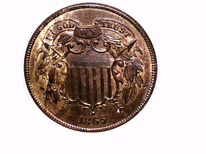 1865 DOUBLE DIE OBVERSE FS 101 TWO CENT ERROR MS63 BLUE ANACS HOLDER