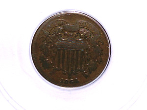 1864 REPUNCHED DATE KF L5 TWO CENT ERROR VF 20