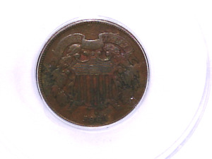 1864 DOUBLE CLASHED DIES FS 1401/ FS 1902 TWO CENT ERROR