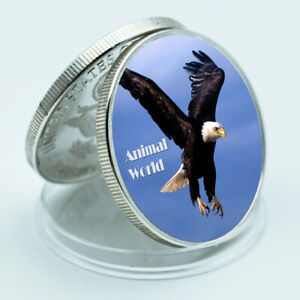 BIRTHDAY SOUVENIR GIFTS EAGLE  ANIMAL COMMEMORATIVE SIVER COIN ART CRAFTS