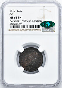 Click now to see the BUY IT NOW Price! 1810 CLASSIC HEAD 1/2C NGC MS 65 BN