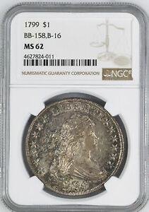 Click now to see the BUY IT NOW Price! 1799 DRAPED BUST $1 NGC MS 62
