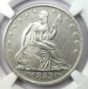 1853 ARROWS & RAYS SEATED LIBERTY HALF DOLLAR 50C COIN   CERTIFIED NGC XF DETAIL