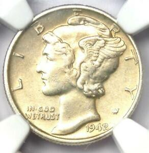 1942/1 MERCURY DIME 10C   NGC UNCIRCULATED DETAIL  UNC MS     OVERDATE COIN