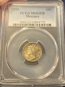 1916 MERCURY DIME PCGS MS63FB MS 63 TONED GEM  SILVER WITTER MADNESS