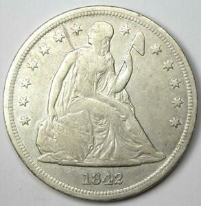 1842 SEATED LIBERTY SILVER DOLLAR $1   XF DETAILS  EF     EARLY COIN