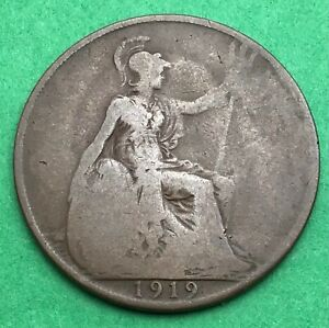 LOT I2416 UK 1919 GREAT BRITAIN ONE PENNY    KING GEORGE VO